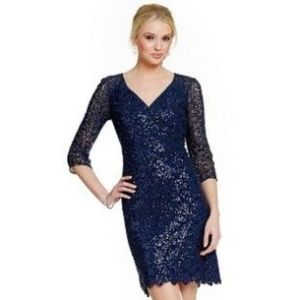 NWT Kay Unger Sequin Lace V-Neck Sheath Dress